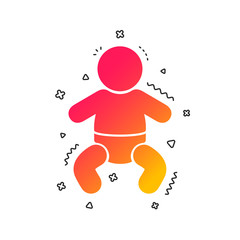 Baby infant sign icon. Toddler boy with diapers symbol. Child WC toilet. Colorful geometric shapes. Gradient baby icon design.  Vector