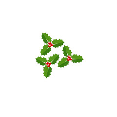 Christmas holly berry leaves. Vector cartoon holiday vintage decoration element isolated on background.