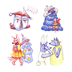 Animals party. New year and Christmas hand draw illustration. Characters on white background