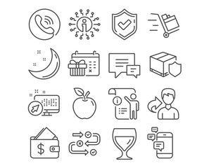 Set of Wine glass, Christmas calendar and Comment icons. Delivery insurance, Push cart and Communication signs. Manual doc, Survey progress and Wallet. Christmas calendar vector