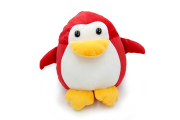 Red Penguin doll isolated on white background.