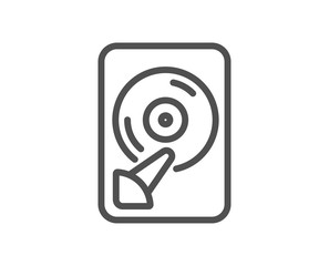 Hdd line icon. Computer memory component sign. Data storage symbol. Quality design flat app element. Editable stroke Hdd icon. Vector