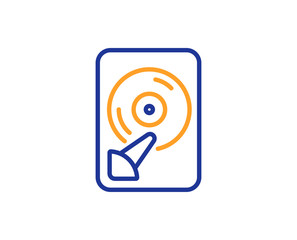 Hdd line icon. Computer memory component sign. Data storage symbol. Colorful outline concept. Blue and orange thin line color Hdd icon. Vector