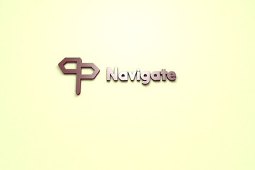 3D illustration of Navigate, brown color and brown text with light background.