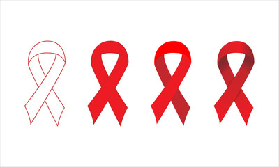 set of red straight ribbon with outline flat and gradient style