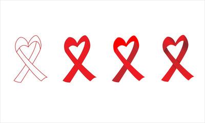 set of red heart shaped ribbon with outline flat and gradient style