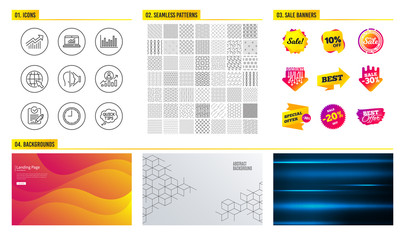 Seamless pattern. Shopping sale banners. Set of Internet, Career ladder and Time icons. Face id, Online statistics and Demand curve signs. Bar diagram, Rfp and Quick tips symbols. Vector