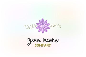 Logo purple flower wedding day watercolor vector