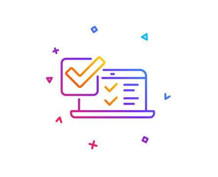 Online survey line icon. Select answer sign. Web interview symbol. Gradient line button. Online survey icon design. Colorful geometric shapes. Vector