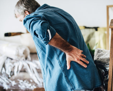 Senior man having back pain