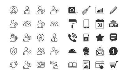 Users line icons. Profile, Group and Support signs. ID card, Teamwork and Businessman symbols. Person talk, Engineer and Human Management. Information, calendar and call phone icons. Users vector
