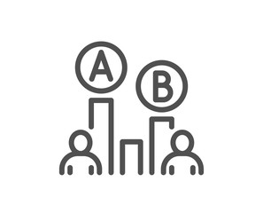 Ab testing line icon. Ui test chart sign. Quality design flat app element. Editable stroke Ab testing icon. Vector