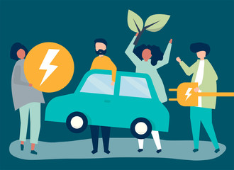 Group of people with an electric car