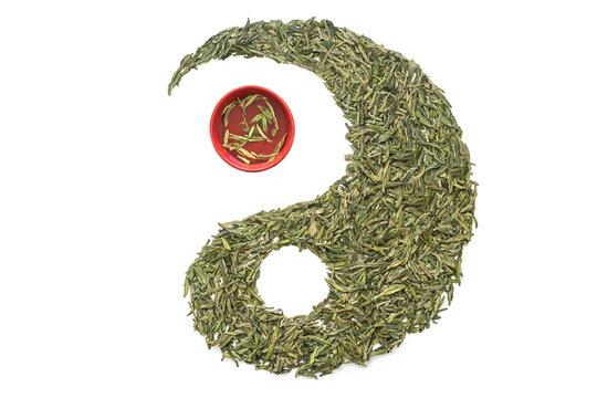 Longjing Tea and Teacup in Taiji Figure