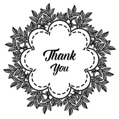Thank You with Place for Your Text Floral Background Vector