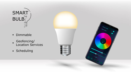 Realistic smartphone and smart led lightbulb isolated. Vector illustration. App for smart bulb