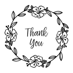 THANK YOU with hand draw flower vector art