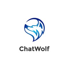 Luxury Wolf for Chat app Logo with Vector File