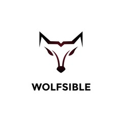 Outline Wolf head for Icon or Logo with Vector Files