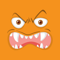 Orange monster facial expression