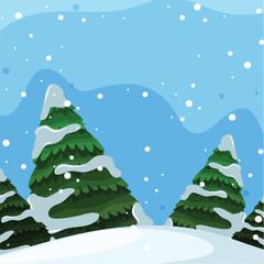Flat design of winter landscape
