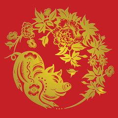 Happy chinese new year 2019 Zodiac sign year of the pig with paper cut art and craft style on Background