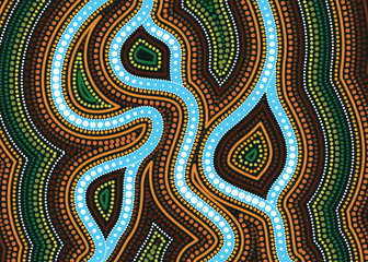 River, Aboriginal art vector painting with river, Landscape Illustration of aboriginal river