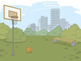 Street sport basketball graphic color city landscape sketch illustration vector