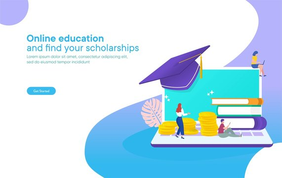 online education concept, online scholarships concept vector illustration, group of people on stack of money and book, can use for, landing page, template, ui, web, mobile app, poster, banner, flyer