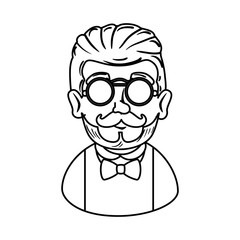 man hipster with mustache and glasses