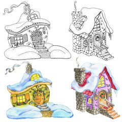 Design set with cute cottage houses for Christmas and New Year concept. Hand drawn winter background with cartoon illustration for decorations