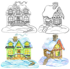 Design set with cute country cottage houses for Christmas and New Year concept. hand drawn winter background with cartoon illustration for decorations