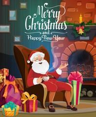 Santa, Christmas fireplace, gift bag and presents
