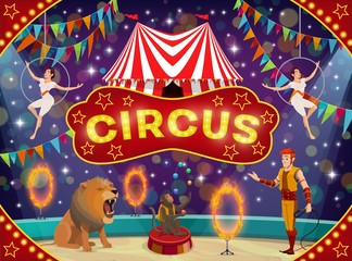 Circus animal trainer and acrobats. Carnival show