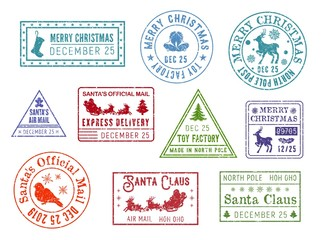 Christmas post, Santa Claus mail stamps