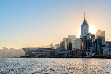 Hong Kong cityscape in the morning over Victoria Harbour. Wall mural
