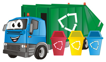 garbage truck, garbage car, garbage, machine, waste, recycling, ecology, garbage collection, dump, happy