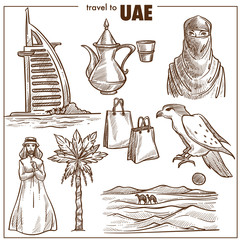 Arab Emirates tourism travel sketch landmarks and UAE culture sightseeing icons.