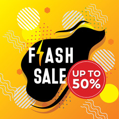 Vector flash sale design with thunder vector illustration and yellow modern background
