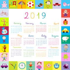 Frame with toys 2019 calandar for kids