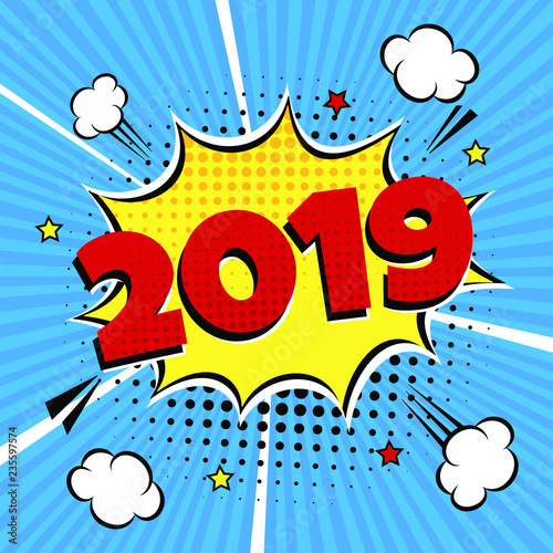 2019 happy new year christmas comic pop art speech bubble
