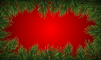Winter holiday background with fir leaf border. Isolated Christmas Frame with tree branches. Vector Illustration.
