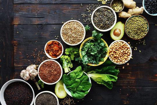 food superfoods cereals seeds top view Healthy vegetarian