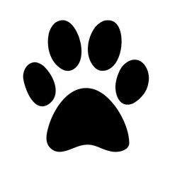 Black silhouette of a paw print, isolated