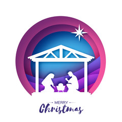 Birth of Christ. Baby Jesus in the manger. Holy Family. Magi. Star of Bethlehem - east comet. Nativity Christmas design in paper art style. Happy new year. Circle tunnel frame. Purple.