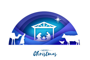 Birth of Christ. Baby Jesus in the manger. Holy Family. Magi. Three wise kings and star of Bethlehem - east comet. Nativity Christmas in paper art style. Semicircle tunnel frame. Blue.