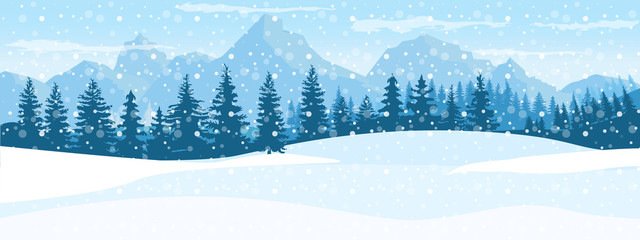 Foto auf Leinwand Pool Horizontal Winter Landscape. Mountains fir tree forest in distant. Flat color vector Illustration.