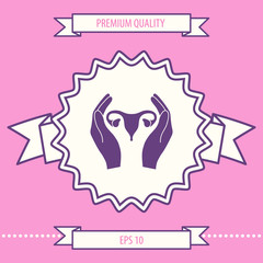 Hands holding Female uterus - protection icon. Graphic elements for your design