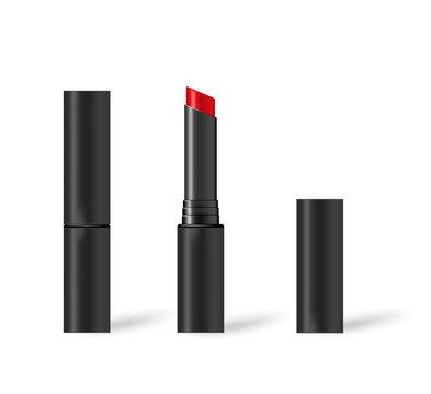 Red lipstick in black tube, realistic mock-up illustration
