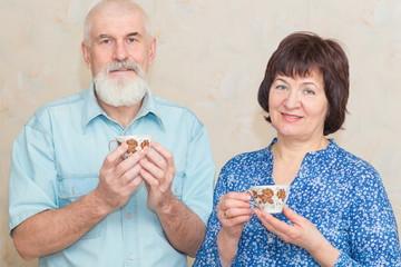 Happy elderly couple drinking tea.